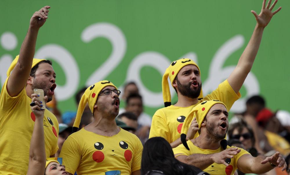 أولمبياد ريو 2016 - مشجعون يغنون خلال لمباراة لكرة رغبي للرجال، 11 أغسطس/ آب 2016