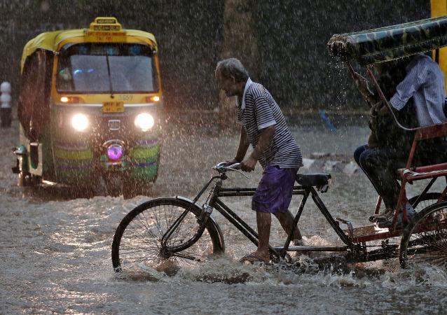 رجل يجر عربة النقل خلال أمطار غزيرة في مدينة نيودلهي، الهند 31 أغسطس/ آب 2016