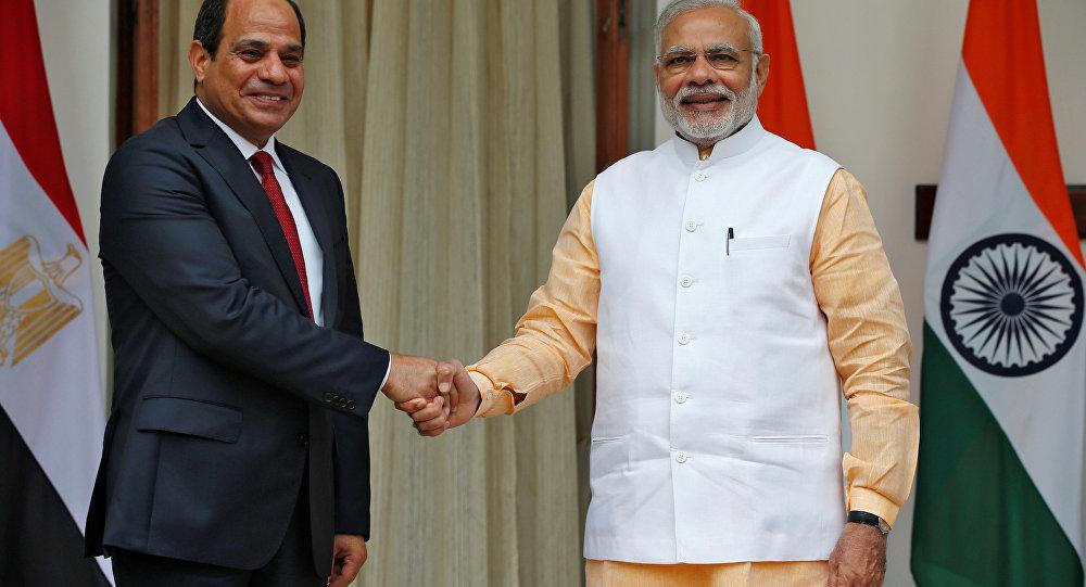 الرئيس المصري ورئيس وزراء الهند