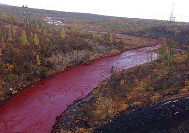 نهر يتحول للون الأحمر فى روسيا