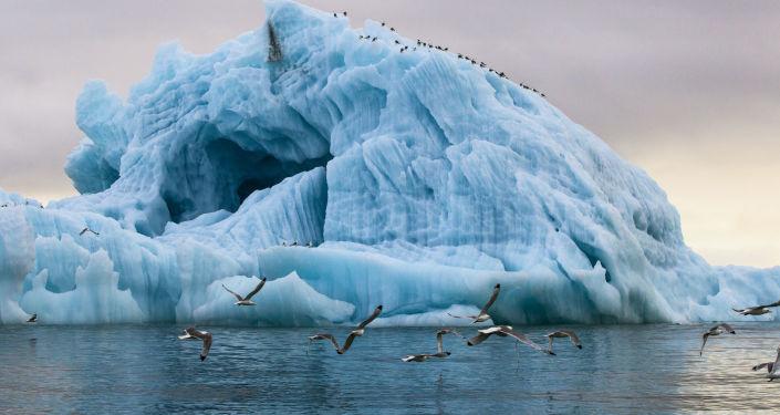 فيض في الأرخبيل خليج الصامت هوكر جزيرة فرانز جوزيف لاند، في أقصى شمال روسيا والواقع في القطب المتجمد الشمالي.