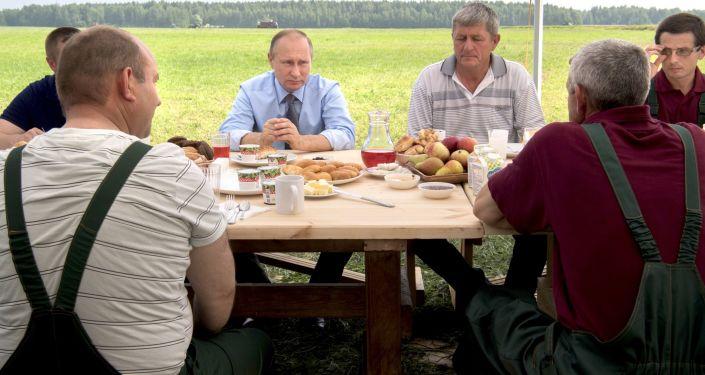 الرئيس الروسي فلاديمير بوتين يجلس مع المزارعين والفلاحين لدى زيارته لحقل دميتروفا غورا (جبل دميتروف) في إقليم تفيرسكايا.