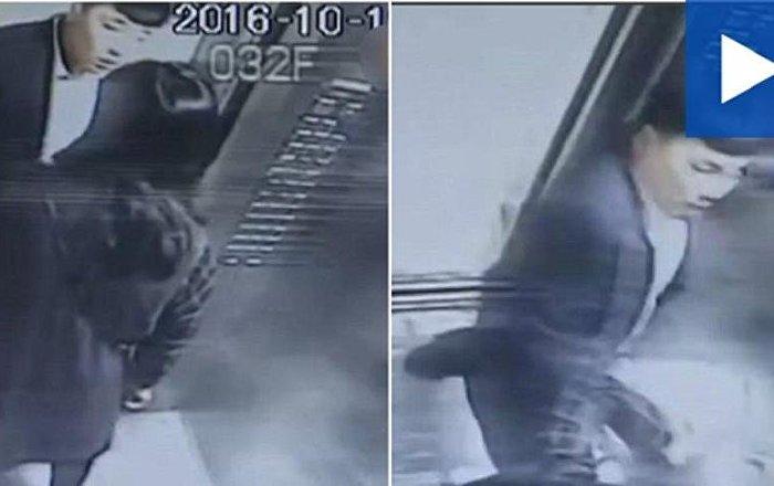 شاهد ماذا فعل الرجل عندما حاولت سيدة منعه من التدخين في المصعد