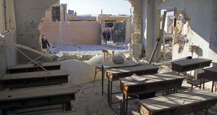 أضرار جسيمة لمدرسة في محافظة إدلب، سوريا 26 أكتوبر/ تشرين الأول 2016