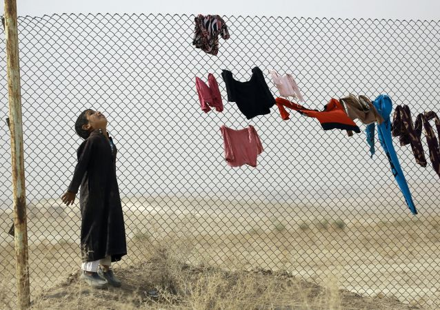طفل لاجئ عراقي في أحد مخيمات للنازحين من الموصل التابعة للأمم المتحدة، محافظة الحسكة، 25 أكتوبر/ تشرين الأول 2016