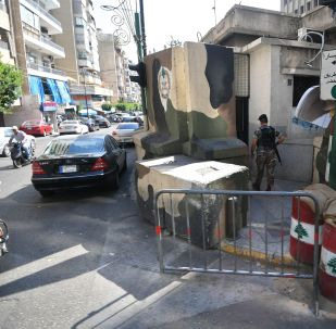 موقع تفتيش في أحد شوارع مدينة بيروت