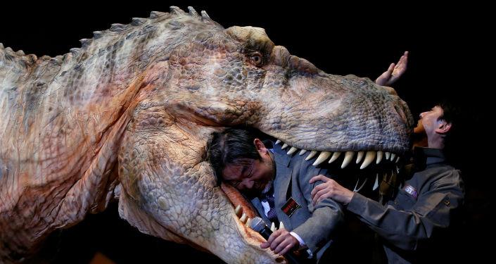 المدير العام كازيوا كانيمارو لشركة يابانية أون-آرت (On-Art) يقوم بعرض ديناصور آلي TRX03 في طوكيو، اليابان 10 نوفمبر/ تشرين الثاني 2016