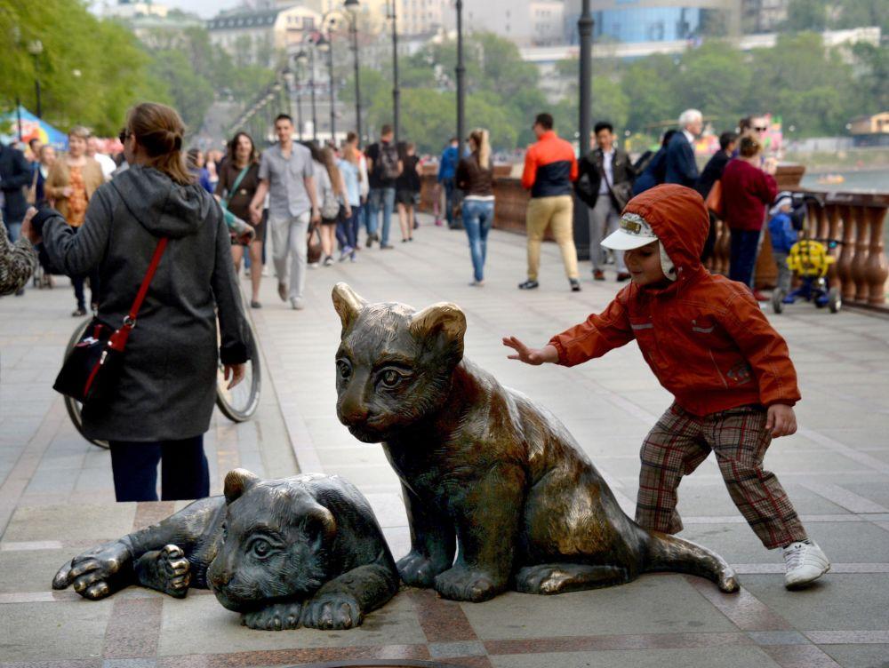 طفل يلعب مع تمثال تيغارياتا (النمور الصغيرة) على ضفة سبارتيفنايا في فلاديفوستوك