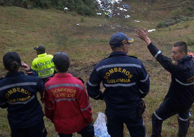 الطائرة المنكوبة التي كان على متنها فريق كرة القدم البرازيلي، كولومبيا