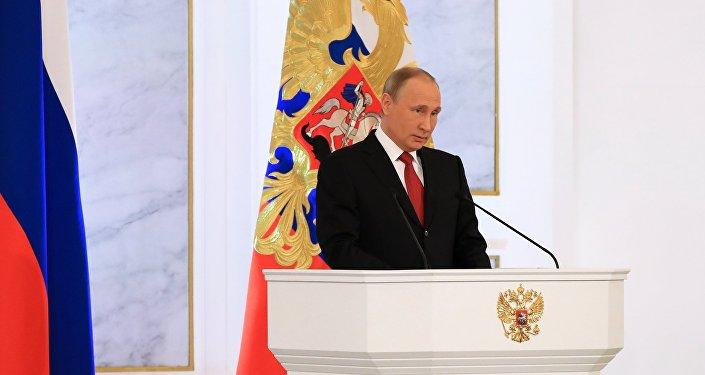 الرئيس فلاديمير بوتين خلال إعلان رسالته السنوية أمام البرلمان الاتحادي الروسي في الكرملين، 1 ديسمبر/ كانون الأول 2016