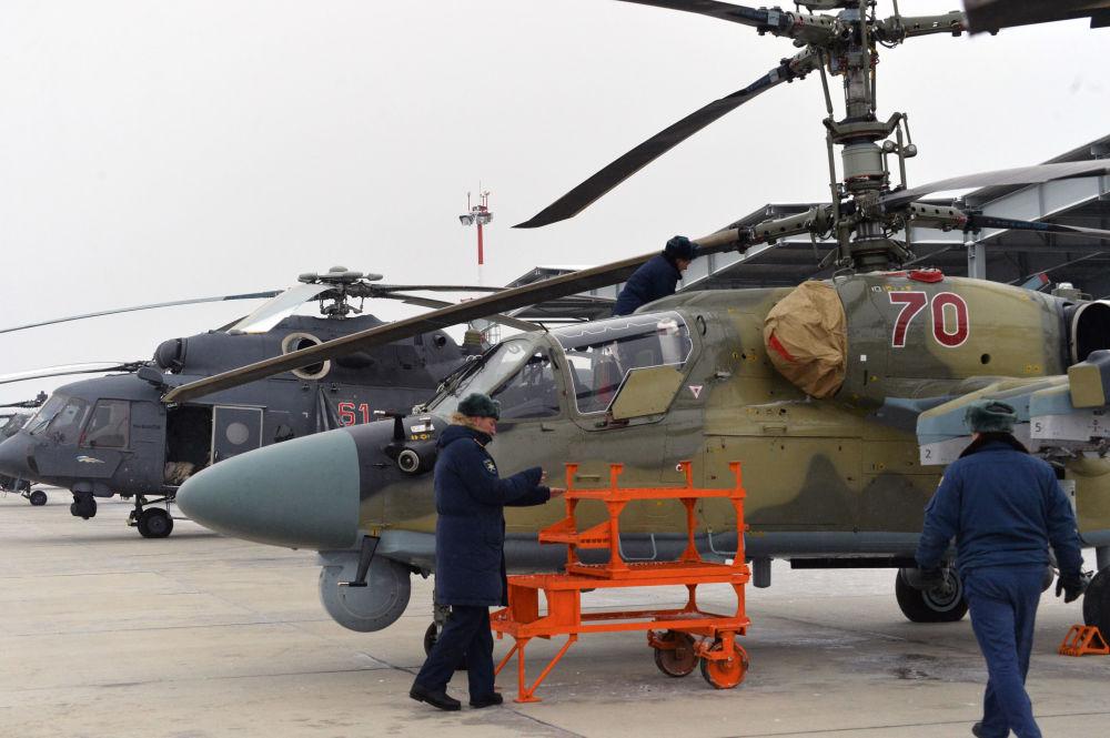 مروحية كا-52 التمساح أثناء التجربة فى إقليم كراسنودار