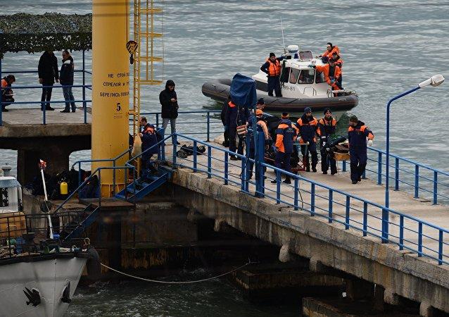 Russian Defense Ministry's TU-154 aircraft crash site in Sochi