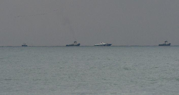 مكان سقوط الطائرة المنكوبة تو-154 في البحر الأسود، سوتشي