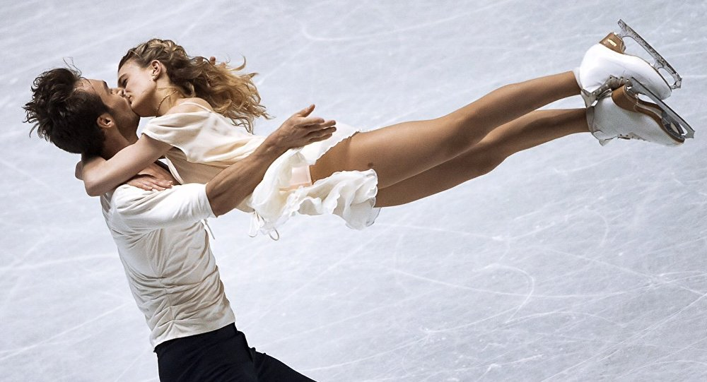 Ganriela Papadakis and Guillaume Cizeron of France perform their free dance at the European Figure Skating Championships in Stockholm