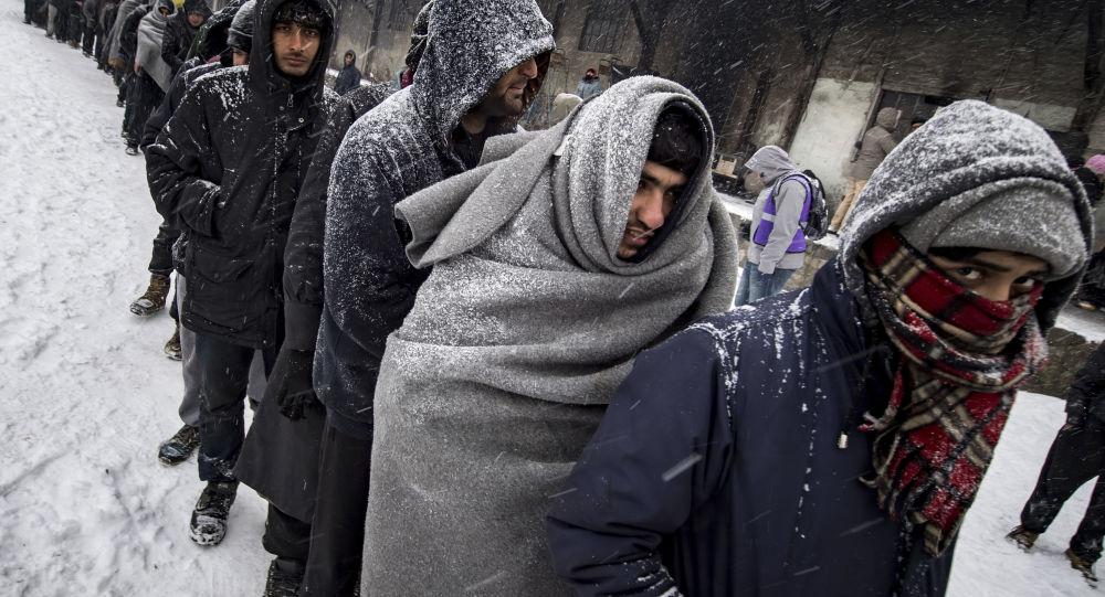 لاجئون يقفون في طابور للحصول على وجبة طعام في بلغراد ودرجة حرارة الجو 15 تحت الصفر، 11 يناير/ كانون الثاني 2017