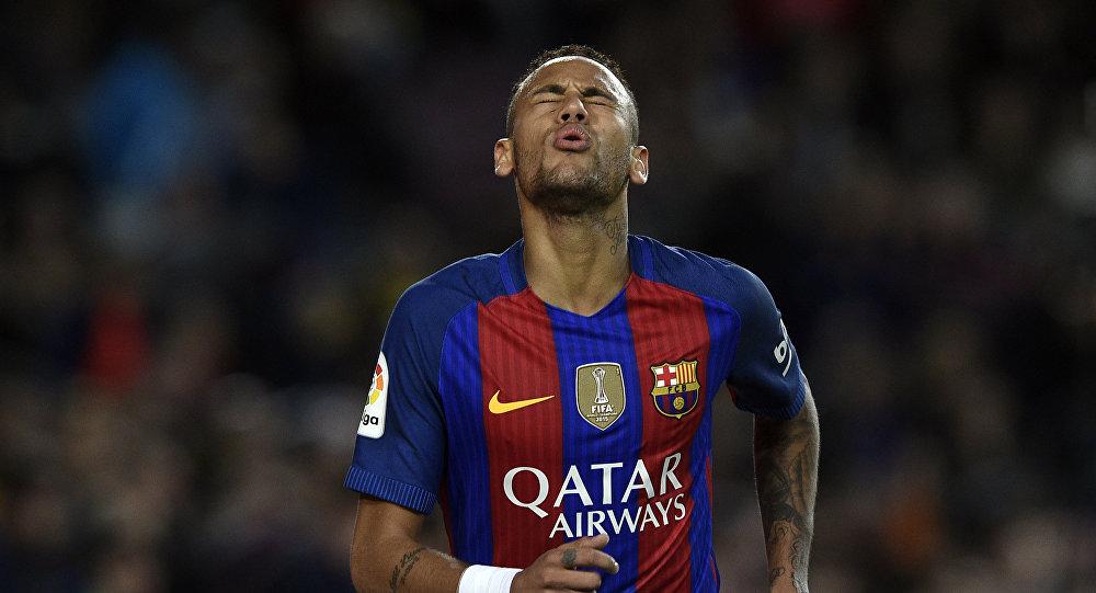 Barcelona's Brazilian forward Neymar gestures during the Spanish league football match FC Barcelona vs Malaga CF at the Camp Nou stadium in Barcelona, on November 19, 2016