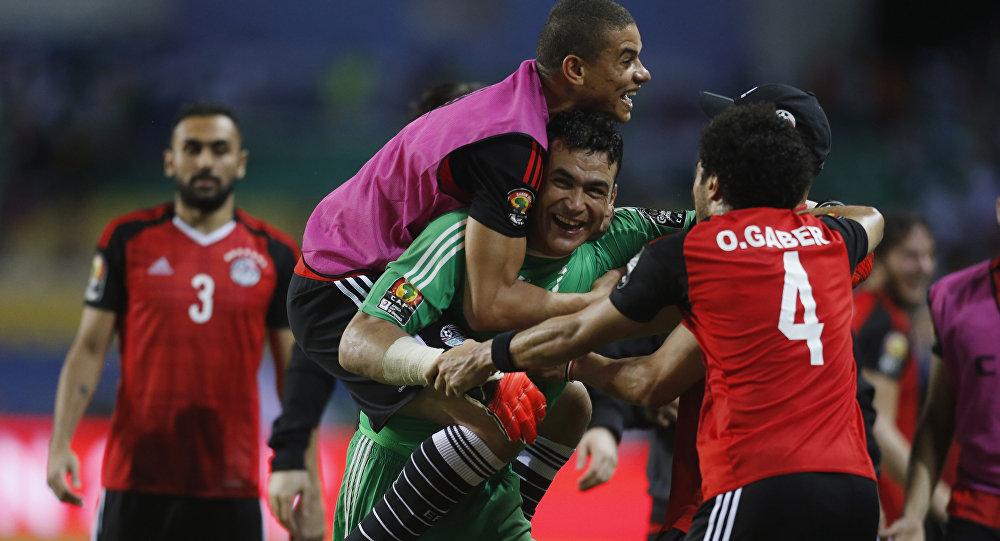 احتفالات منتخب مصر بالفوز على بوركينافاسو