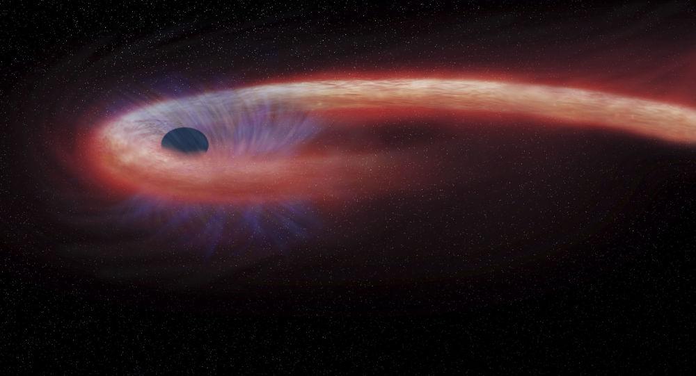رسم توضيحي لفنان لثقب أسود موجود في كوكبة العذراء، والتي تستوعب كمية قياسية لمواد فضائية، 6 فبراير/ شباط 2017.