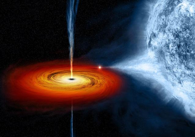 رسم توضيحي لفنان للثقب الأسود اسمه Cygnus X-1