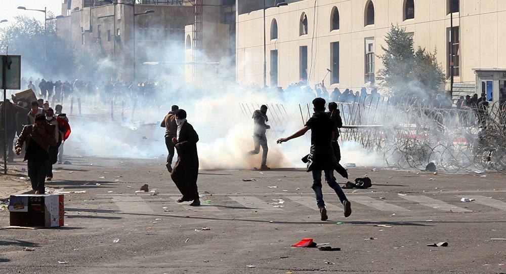 أعمال عنف خلال مظاهرات بغداد اليوم
