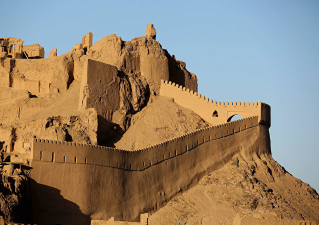 A general view of the citadel Arg'e Bam, the pre-Islamic desert citadel that was the largest adobe monument in the world made of non-baked clay bricks, a thousand kilometres (600 miles) southeast of Tehran