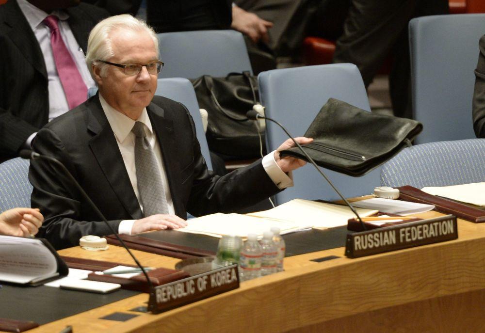 ممثل روسيا الدائم لدى الأمم المتحدة فيتالي تشوركين بمجلس الأمن خلال مناقشة أوصاع أوكرانيا، نيويورك، 13 مارس/ آذار 2014