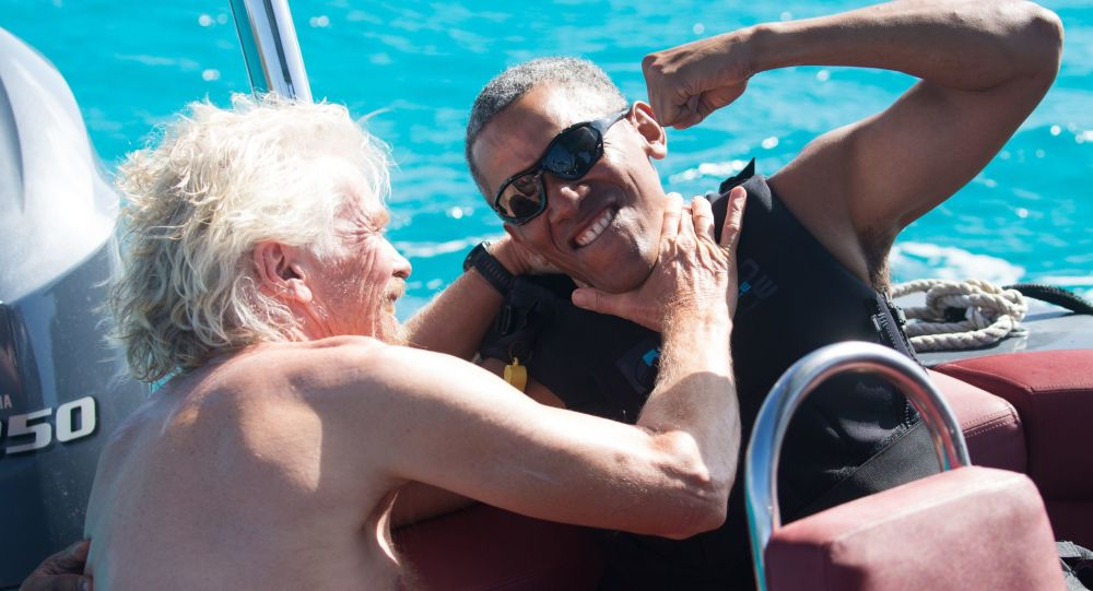 الملياردير ريتشارد برانسون والرئيس الأمريكي الأسبق باراك أوباما