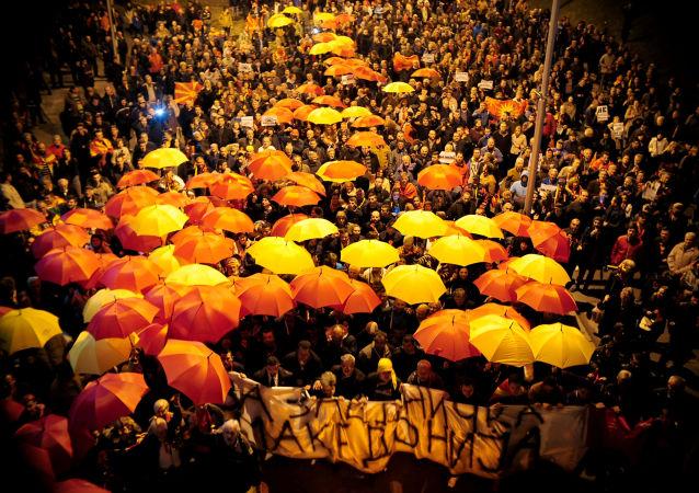 احتجاجات على إقرار اللغة الألبانية باستخدامها رسميا في مقدونيا ، 1 مارس/ آذار 2017