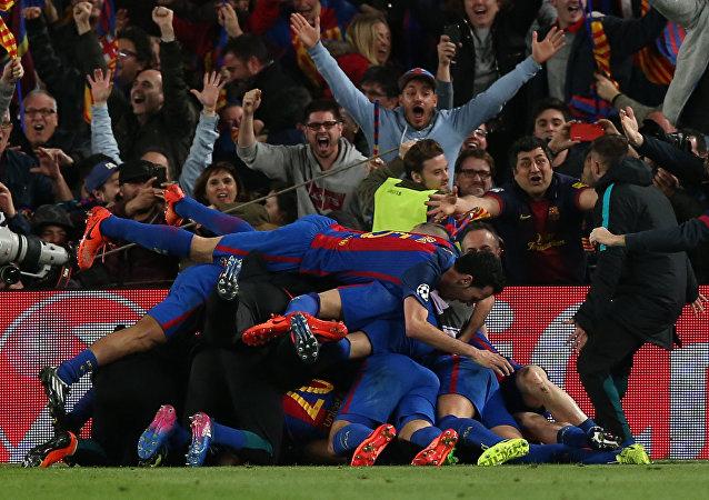 فرحة برشلونة بالفوز على باريس سان جيرمان