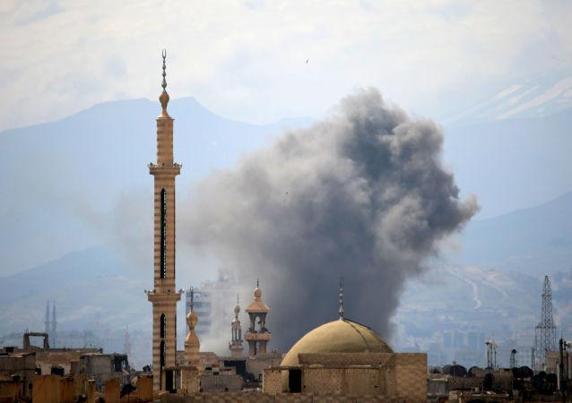 ضربة جوية في حي جوبر شرق دمشق، سوريا 20 مارس/ آذار 2017
