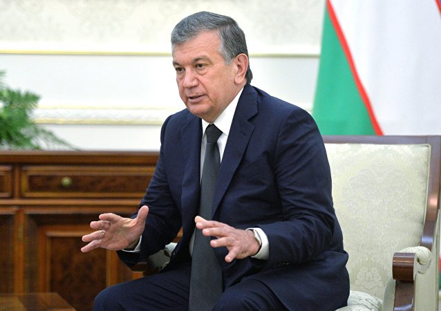 Prime Minister of Uzbekistan Shavkat Mirziyoyev at a meeting with Russian President Vladimir Putin at the Forum Palace, a Samarkand residence of the President of Uzbekistan. File photo