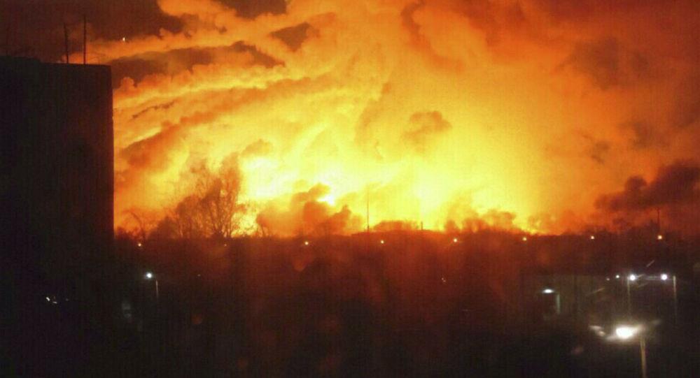 حريق في مستودع ذخيرة في أوكرانيا