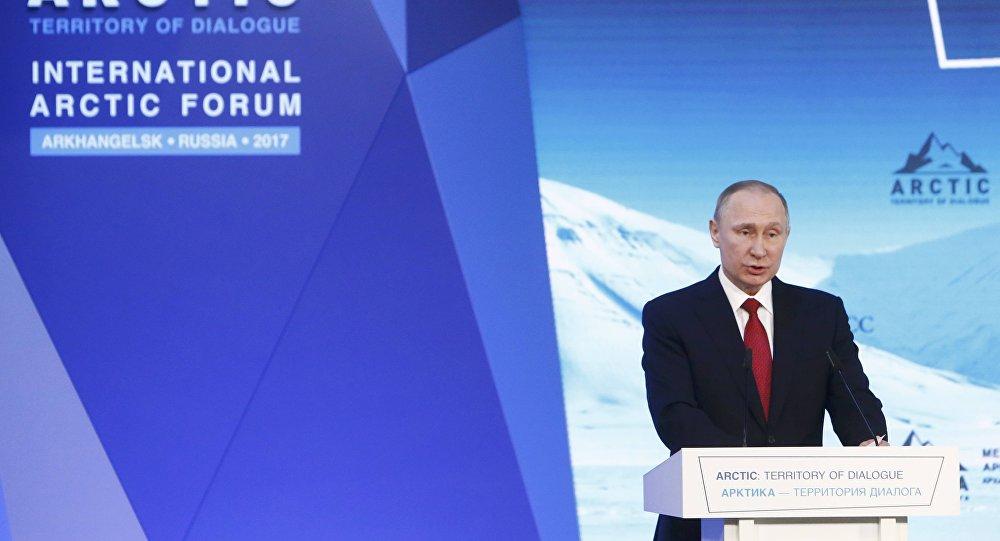 بوتين خلال منتدى القطب الشمالي الدولي