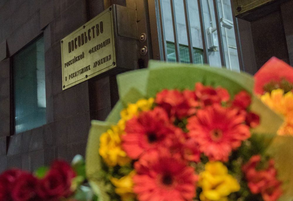 التضامن مع ضحايا انفجار مترو بمدينة سانت بطرسبورغ في يريفان، أرمينيا