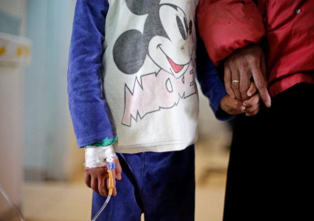 طفل مصاب بالسرطان