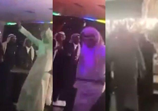 رجال يرقصون في صالة النساء في إحدى المدن السعودية
