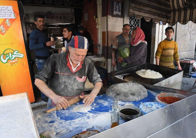 مخبز في مدينة حماة، سوريا