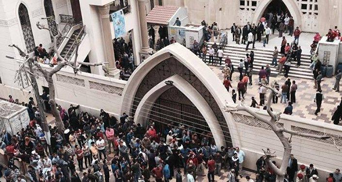 تفجير كنيسة مار جرجس بمدينة طنطا في محافظة الغربية في مصر