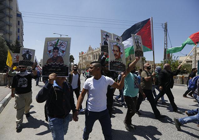 مسيرة تضامنية مع أسرى سجون الاحتلال الإسرائيلي في بيت لحم، الضفة الغاربية، فلسطين
