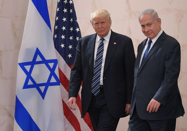 الرئيس الأمريكي دونالد ترابم ورئيس الوزراء الإسرائيلي بنيامين نتنياهو في القدس، 23 مايو/ آيار 2017
