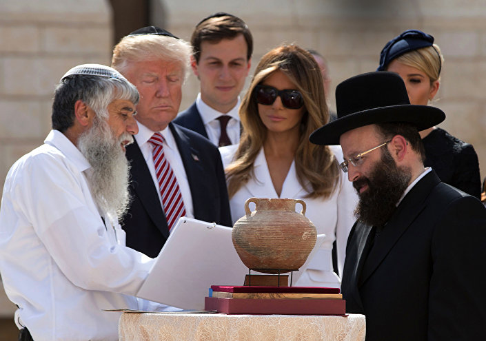 الرئيس الأمريكي دونالد ترامب وزوجته ميلانيا ترامب في تل أبيب، 23 مايو/ آيار 2017