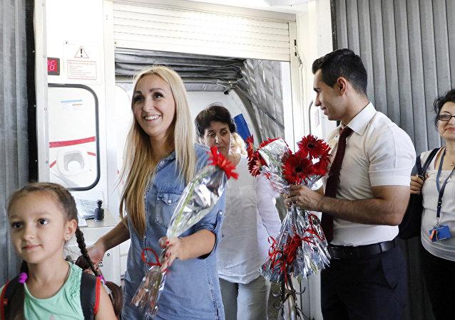السياح الروس لدى وصولهم المنتجعات السياحية في تركيا