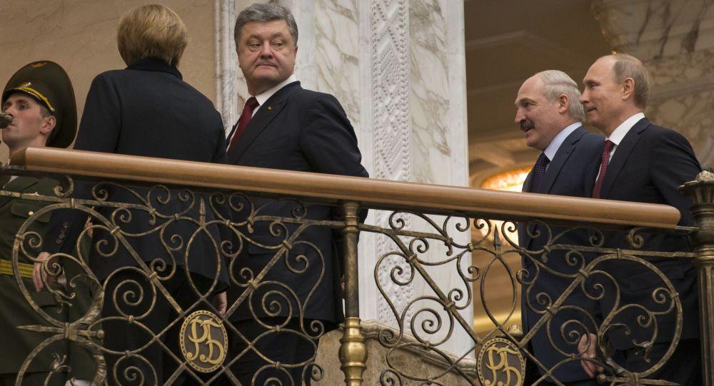 لقاء ميركل وبوروشينكو ولوكاشينكو وبوتين في مينسك