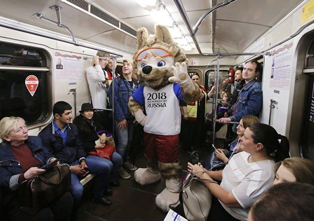 تميمة كأس العالم 2018 في مترو موسكو