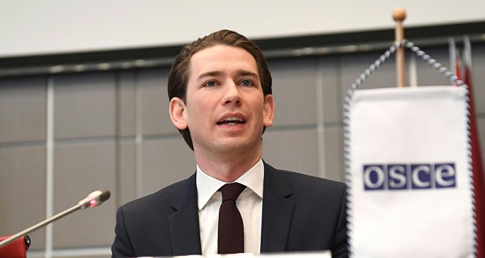 Austrian Foreign Minister Sebastian Kurz is pictured during his speech at the OSCE in Vienna, Austria on January 12, 2017