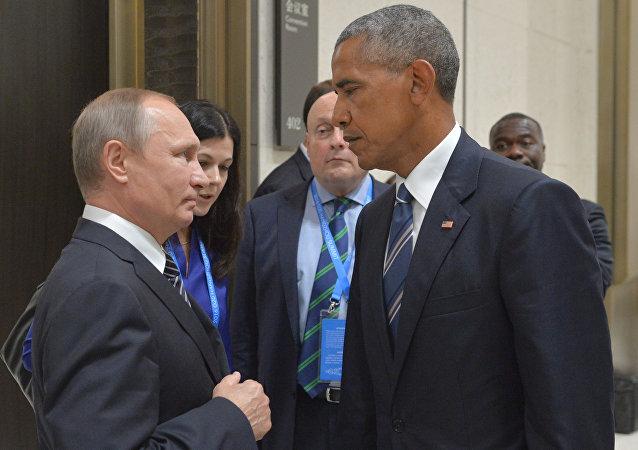 فلاديمير بوتين وباراك أوباما خلال لقائهما في قمة العشرين بالصين في سبتمبر/أيلول 2016