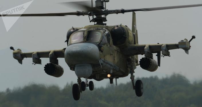 مروحية كا-52 (أليغاتور) خلال مناورات لفوج المروحيات في المطار العسكري تشيرنيغوفكا في بريمورسكي كراي، روسيا