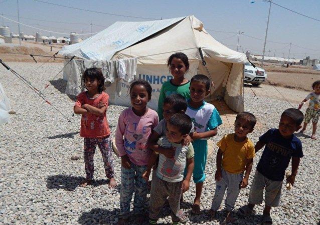 مخيم للنازحين العراقيين غرب الموصل، العراق