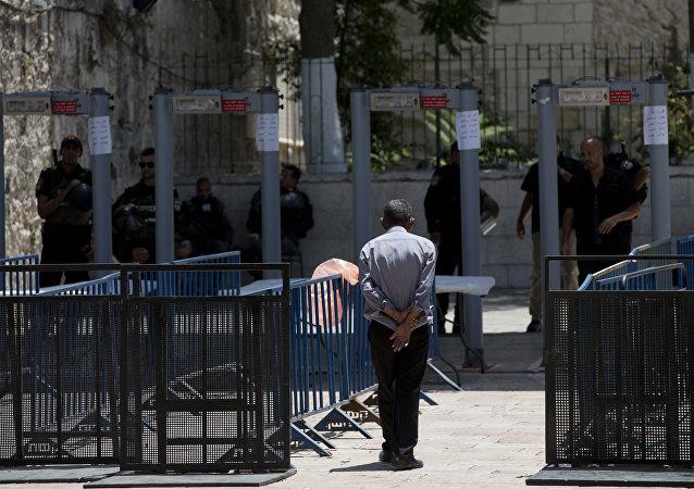 البوابات الآلية في البلدة القديمة من القدس، فلسطين 19 يوليو/ تموز 2017