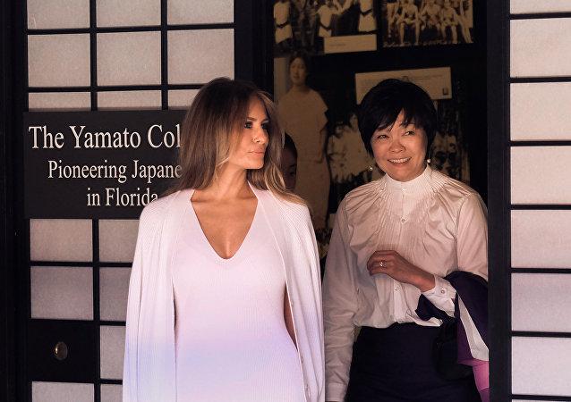 أكي آبي، زوجة رئيس الوزراء الياباني وزوجة الرئيس الأمريكي ميلانيا ترامب